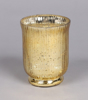 """Picture of Gold Mercury Glass Hurricane Vase with Lines Set/4  