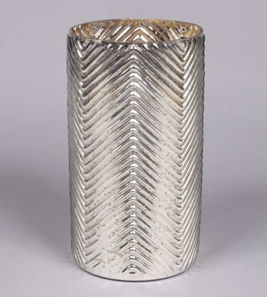 """Picture of Silver Mercury Glass Cylinder Vase with Lines 