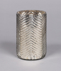 """Picture of Silver Vase Mercury Glass Cylinder with Chevron Pattern Set/2   4""""Dx6.5""""H   Item No. 16062"""
