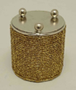 "Picture of Gold Bead Votive Candle Holder on Three Ball Feet Set of 4 I 2.75""Dx3.5""H I Item No. 20431"