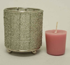 """Picture of Silver Bead Votive Candle Holder on Three Ball Feet Set of 4 I 2.75""""Dx3.5""""H I Item No. 20432"""