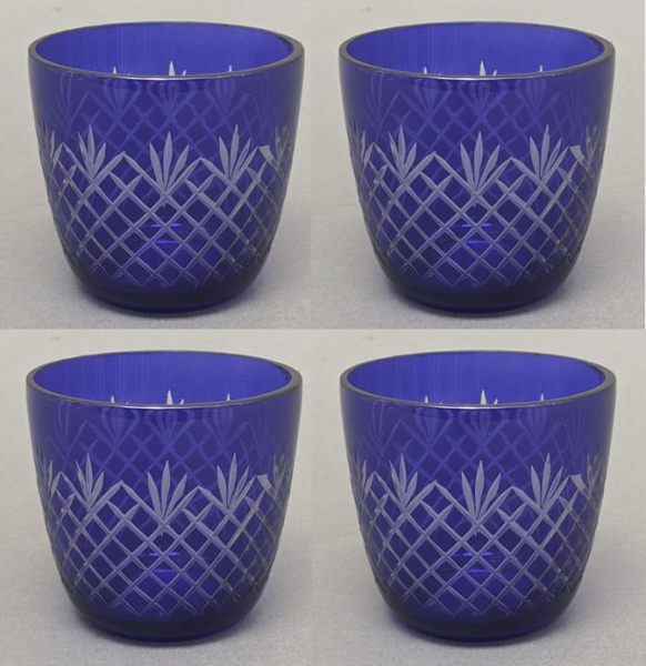 "Picture of Votive Candle Holder Mesh Cut Color Glass Blue Set of 4 |3.25""Dx3""H