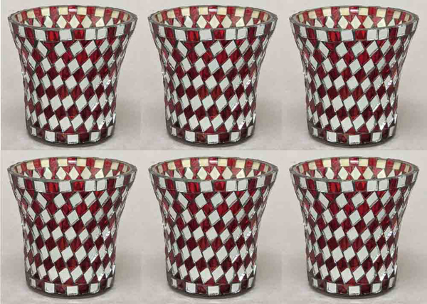 "Picture of Votive Candle Holder Mirror Mosaic Flare Red Set of 6  |3""Dx3.25""H