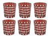 """Picture of Votive Candle Holder Mirror Mosaic Taper Red Set of 6  