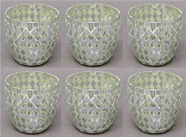 """Picture of Votive Candle Holder Mirror Mosaic Cup Silver Set of 6  