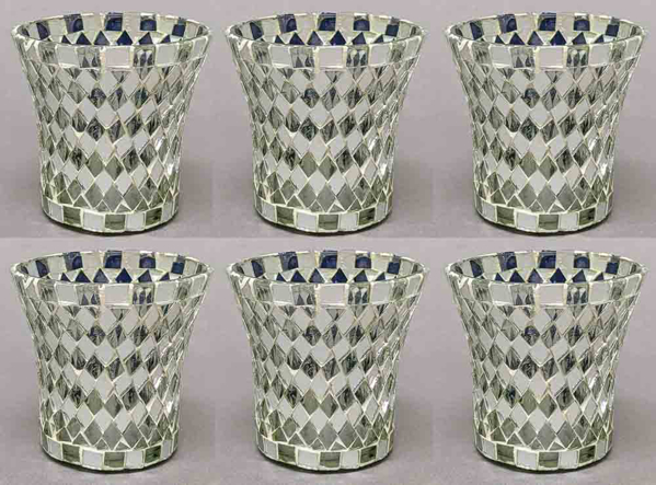"""Picture of Votive Candle Holder Mirror Mosaic Flare Silver Set of 6  