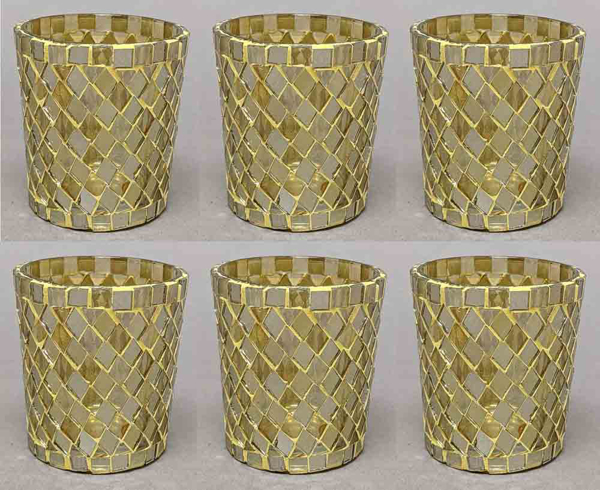"Picture of Votive Candle Holder Mirror Mosaic Taper Gold  Set of 6  |2.5""Dx3""H