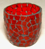 """Picture of Votive Candle Holder Chip Mosaic Cup Red  Set of 6  