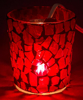 """Picture of Votive Candle Holder Chip Mosaic Taper Red  Set of 6  