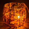 """Picture of Votive Candle Holder Chip Mosaic Octagon Brown  Set of 6  