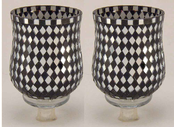 "Picture of Peg Votive Candle Holder Mirror Mosaic Black  Set of 2  |3.75""Dx5""H