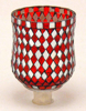 """Picture of Peg Votive Candle Holder Mirror Mosaic Red Set of 4  