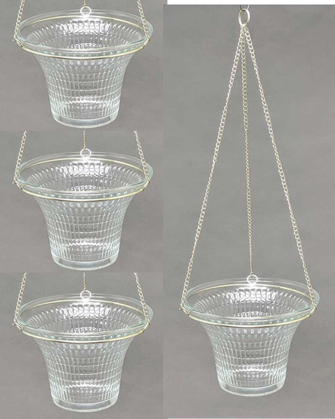 """Picture of Hanging Votive Holder Clear Embossed Glass on Silver Chain Set of 4  