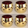 """Picture of Votive Candle Holder Perforated Brass Ball Lined with Red Glass Set of 4  