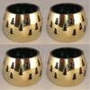 "Picture of Votive Candle Holder Perforated Brass Ball Lined with Green Glass Set of 4  |3.0""D x 2.5""H