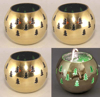 """Picture of Votive Candle Holder Perforated Brass Ball Lined with Green Glass Set of 4  