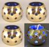 "Picture of Votive Candle Holder Perforated Brass Ball Lined with Blue Glass Set of 4  |4""D x 3.5""H