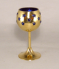"Picture of Votive Holder Perforated Brass Ball on Stand with Blue Glass Liner Set of 2  |3""D x 6""H