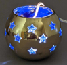 """Picture of Votive Holder Perforated Brass Ball on Stand with Blue Glass Liner Set of 2  