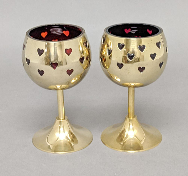 "Picture of Votive Holder Perforated Brass Ball on Stand with Red Glass Liner Set of 2  |3""D x 6""H