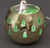 """Picture of Votive Holder Perforated Brass Ball on Stand with Green Glass Liner Set of 2  