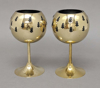 "Picture of Votive Holder Perforated Brass Ball on Stand with Green Glass Liner Set of 2  |4""D x 6""H