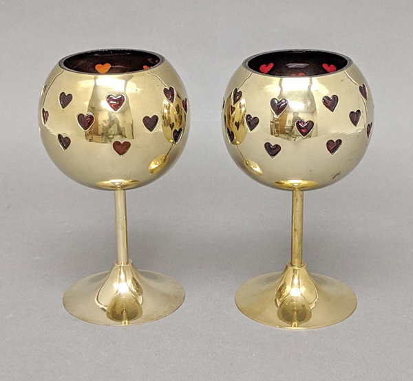 "Picture of Votive Holder Perforated Brass Ball on Stand with Red Glass Liner Set of 2  |4""D x 6""H