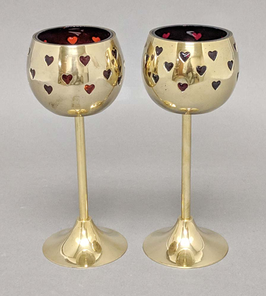 """Picture of Votive Holder Perforated Brass Ball on Stand with Red Glass Liner Set of 2  