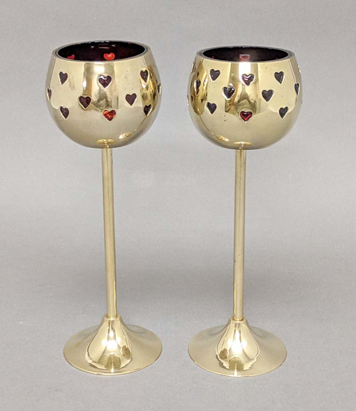 "Picture of Votive Holder Perforated Brass Ball on Stand with Red Glass Liner Set of 2  |3""D x 9""H