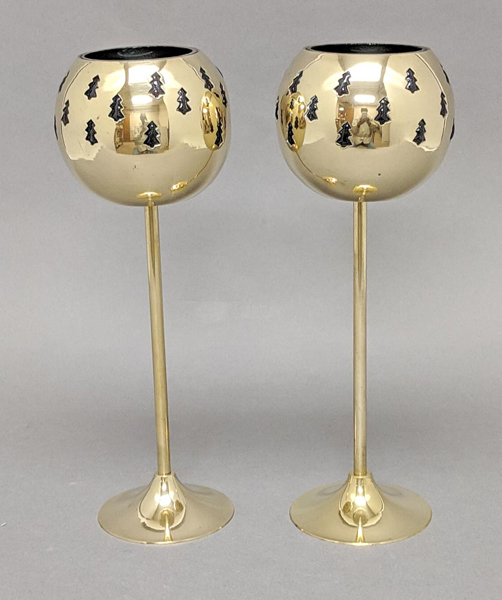 "Picture of Votive Holder Perforated Brass Ball on Stand with green Glass Liner Set of 2  |4""D x 11""H