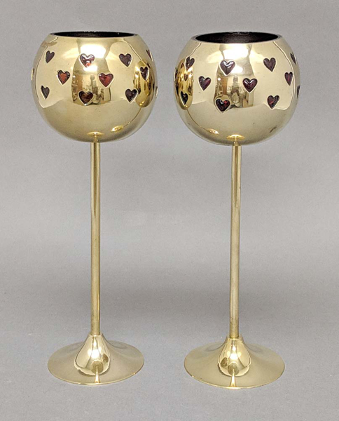 "Picture of Votive Holder Perforated Brass Ball on Stand with Red Glass Liner Set of 2  |4""D x 11""H