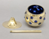 "Picture of Votive Holder Perforated Brass Ball on Stand with Blue Glass Liner Set of 2  |4""D x 6""H