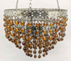 """Picture of Lantern Bead Votive Holder Hanging 3-Tier Amber 3-Chains  