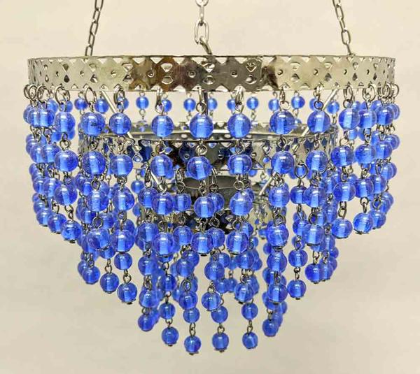 "Picture of Lantern Bead Votive Holder Hanging 3-Tier Blue 3-Chains  | 7""Dx16""H |  Item No.30103"