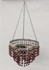"Picture of Lantern Bead Votive Holder Hanging 3-Tier Burgundy 3-Chains  |7""Dx16""H|  Item No.30104"