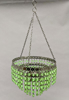 """Picture of Lantern Bead Votive Holder Hanging 3-Tier Green 3-Chains  
