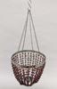 "Picture of Lantern Bead Votive Holder Hanging Cone Burgundy 4-Chains Set /2  | 7""Dx18""H |  Item No.30114"