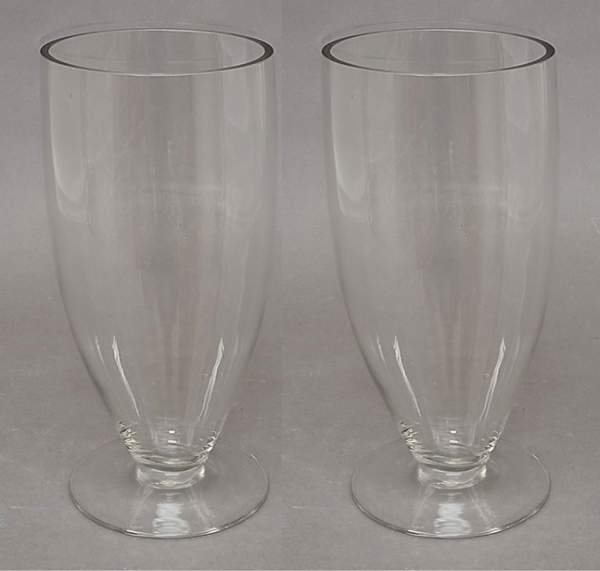 "Picture of Clear Glass Vase Cone Shape with Base Set/2 | 4.5""Dx10""H 