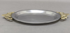 "Picture of Tray Aluminum with Brass Handles Oval  Set/2 | 10""L x 7""W 