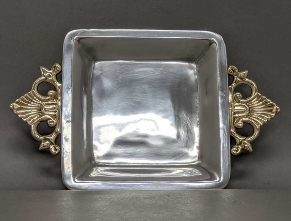 """Picture of Tray Aluminum with Brass Handles Square  Set/2   7""""Square x 10.5""""Wide    Item No. 14061"""