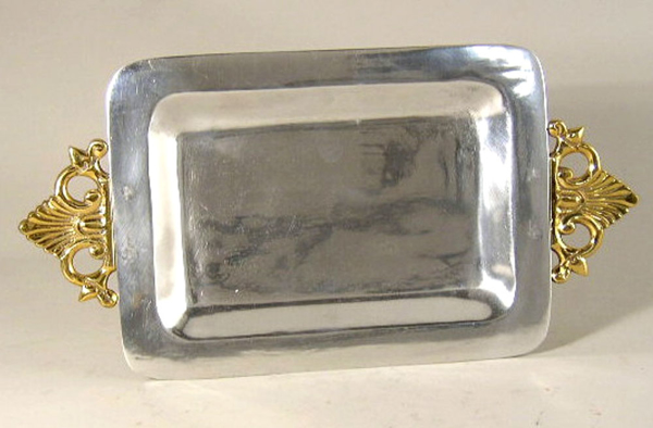 """Picture of Tray Aluminum with Brass Handles Rectangle Set/2  