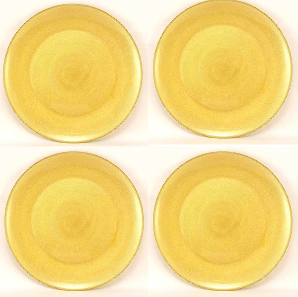"""Picture of Charger Plate Glass Round Gold Honey Comb  Set/4  