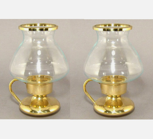 """Picture of Brass Candle Holders with Handle Clear Glass Shade Set/2  