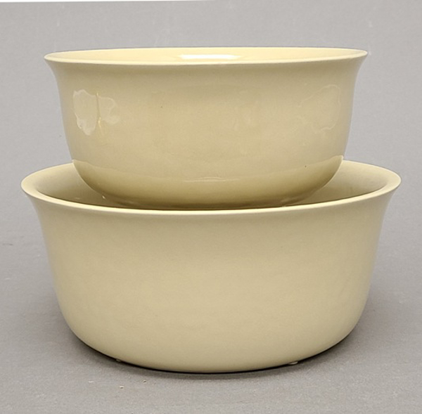 "Picture of Beige Ceramic Bowl  Round Set/2  | 7""Dx3""H  &  8""Dx4""H 