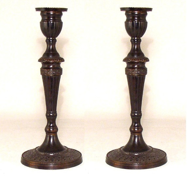 "Picture of Bronze Patina on Brass Candle Holder Round Embossed Set/2 | 3.75""Dx8""H 