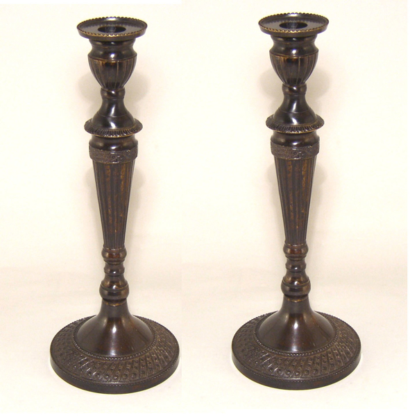 """Picture of Bronze Patina on Brass Candle Holder Round Embossed Set/2 