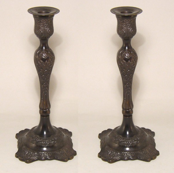 """Picture of Bronze Patina on Brass Candle Holder Square Base Embossed Set/2 
