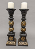 """Picture of Wood Candle Holders Hand Carved for Pillar Candles Set/2  
