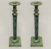 "Picture of Verdigris Patina on Brass Candle Holders 4-Ball Feet for Pillar or Taper Candles Set/2  | 5""Sqx18.5""H 
