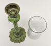 """Picture of Verdigris Patina on Brass Candle Holders with Cut Glass Shades Set/2  